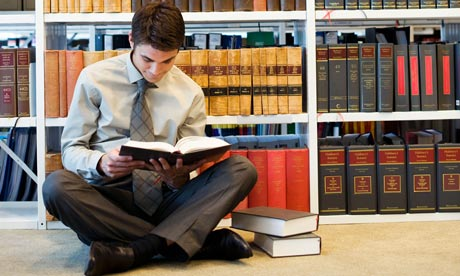 Law student consults books